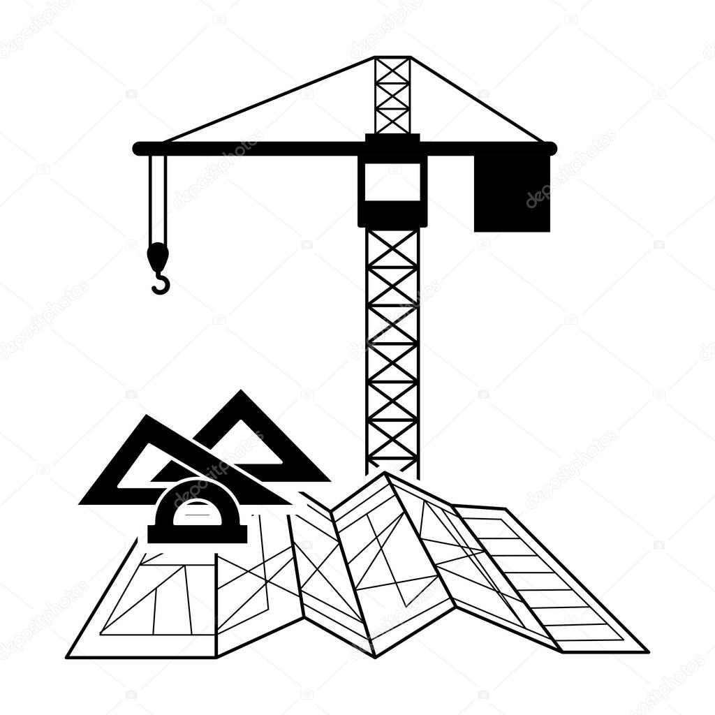 1024x1024 Black Silhouette Construction Tower Crane And Architecture