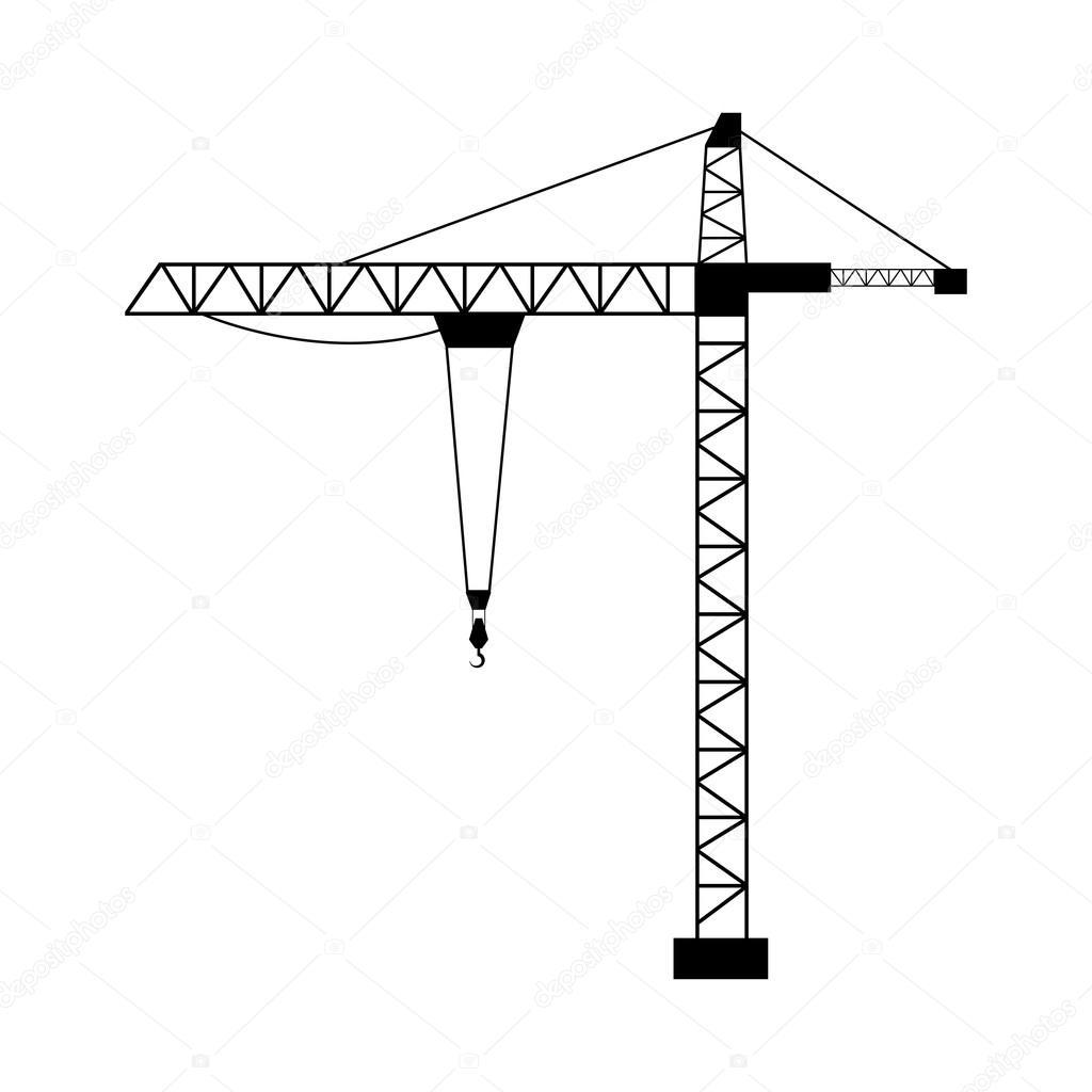 1024x1024 Tower Crane Isolated Flat Design Stock Vector Yupiramos