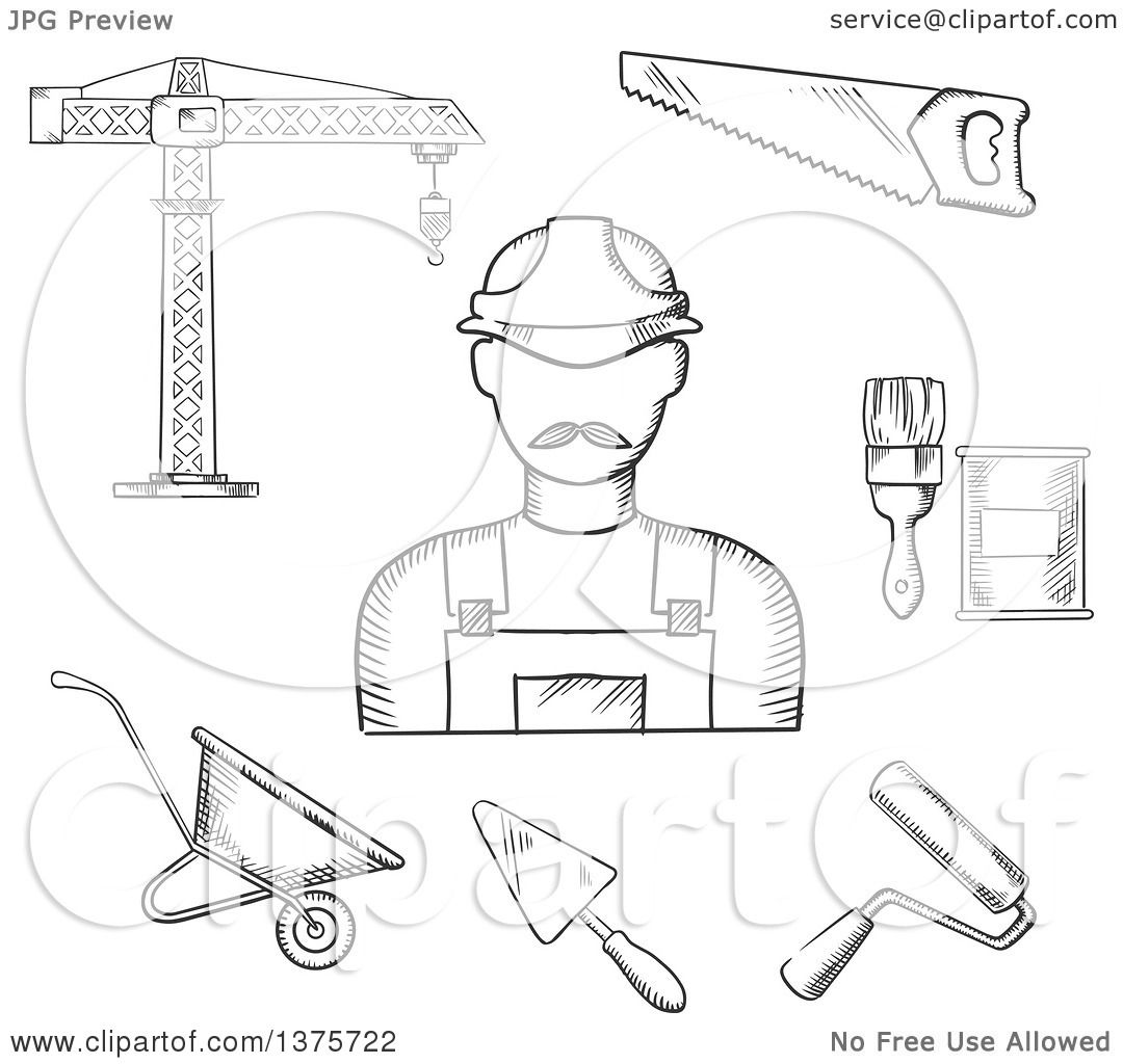 1080x1024 Clipart Of A Black And White Sketched Builder With Tower Crane