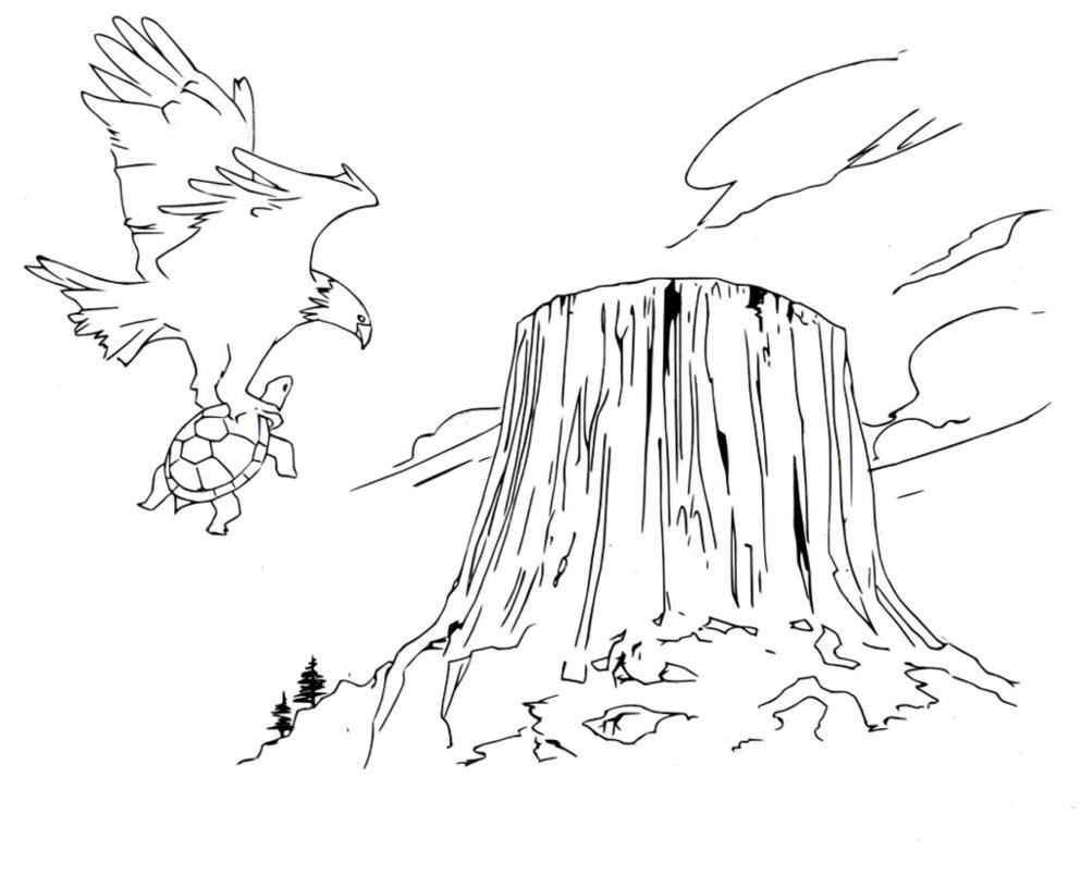 993x804 Devil's Tower Drawing (Line Art) By Electronicdave