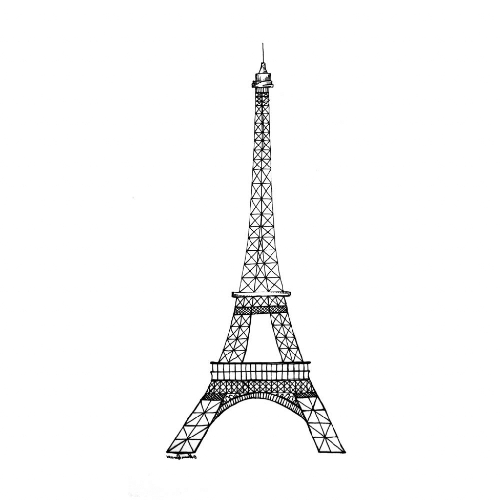 1024x1024 Eiffel Tower Drawing Simple Eiffel Tower Coloring Page Free