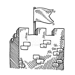 300x300 Medieval Stronghold Tower Flag Drawing Premium Clipart