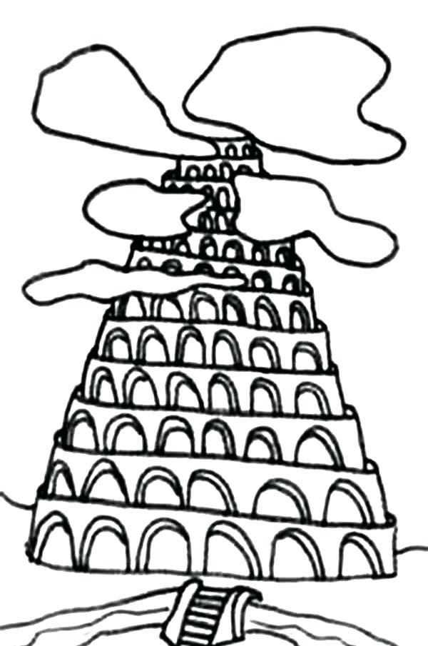 600x905 Tower Of Babel Coloring Page Tower Of Babel Drawing Coloring Page