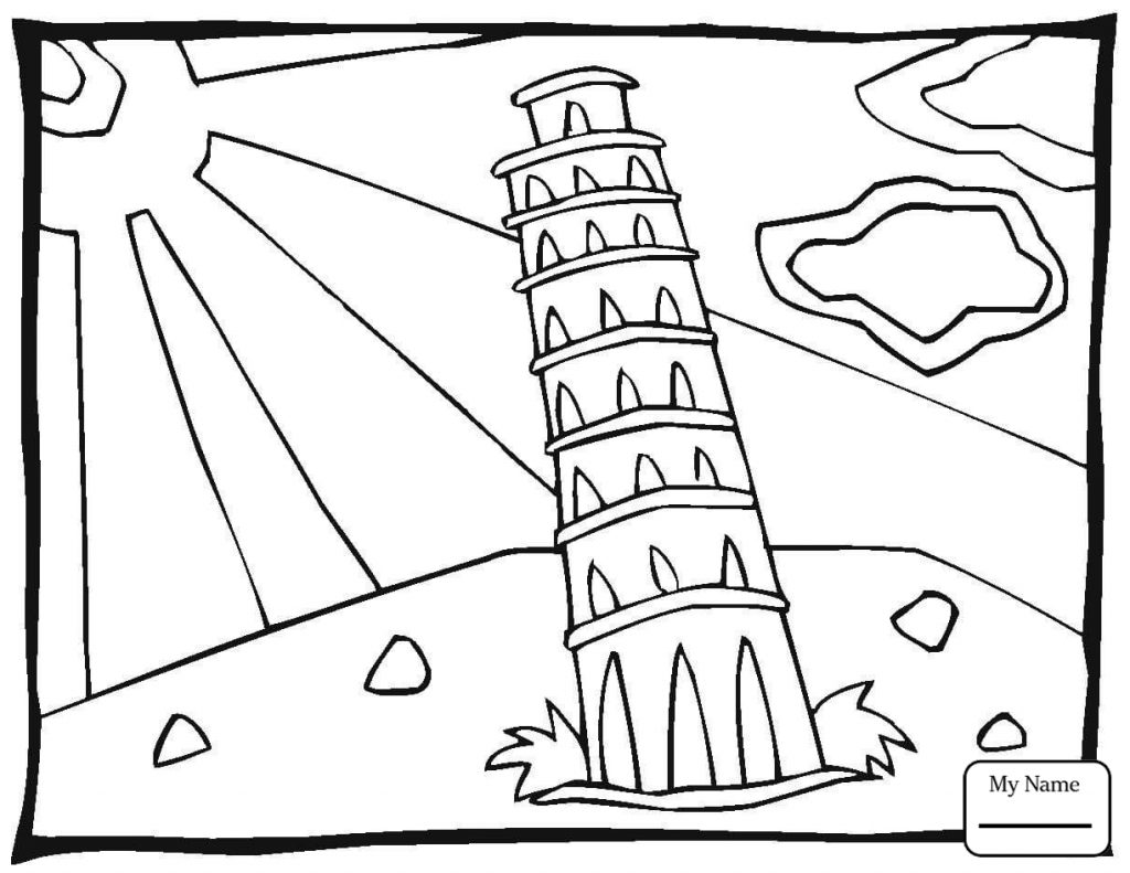 1024x791 Arts Culture Statue Leaning Tower Of Pisa Printable Free Coloring