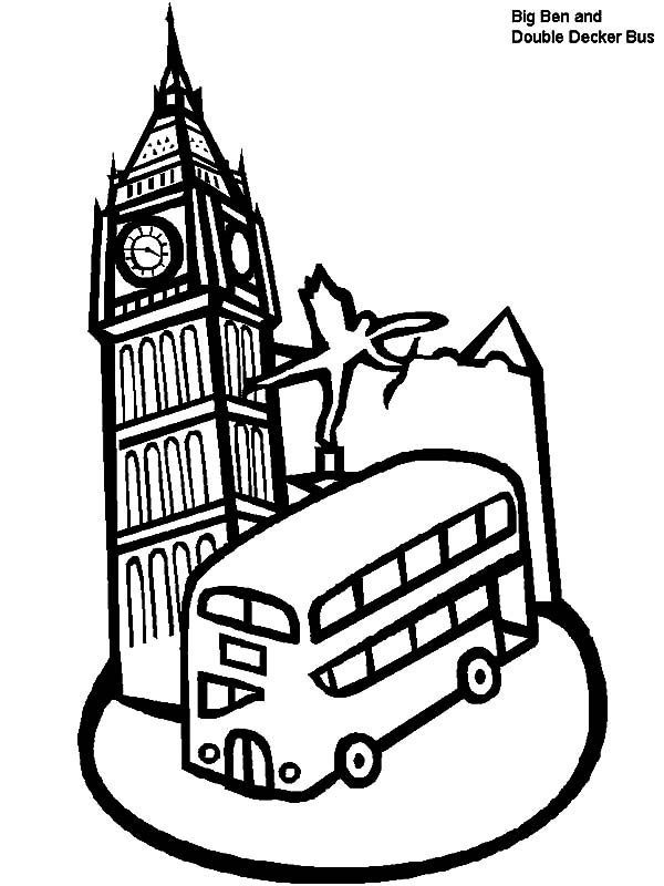 600x800 London Clock Tower And Double Decker Bus In London Coloring Pages