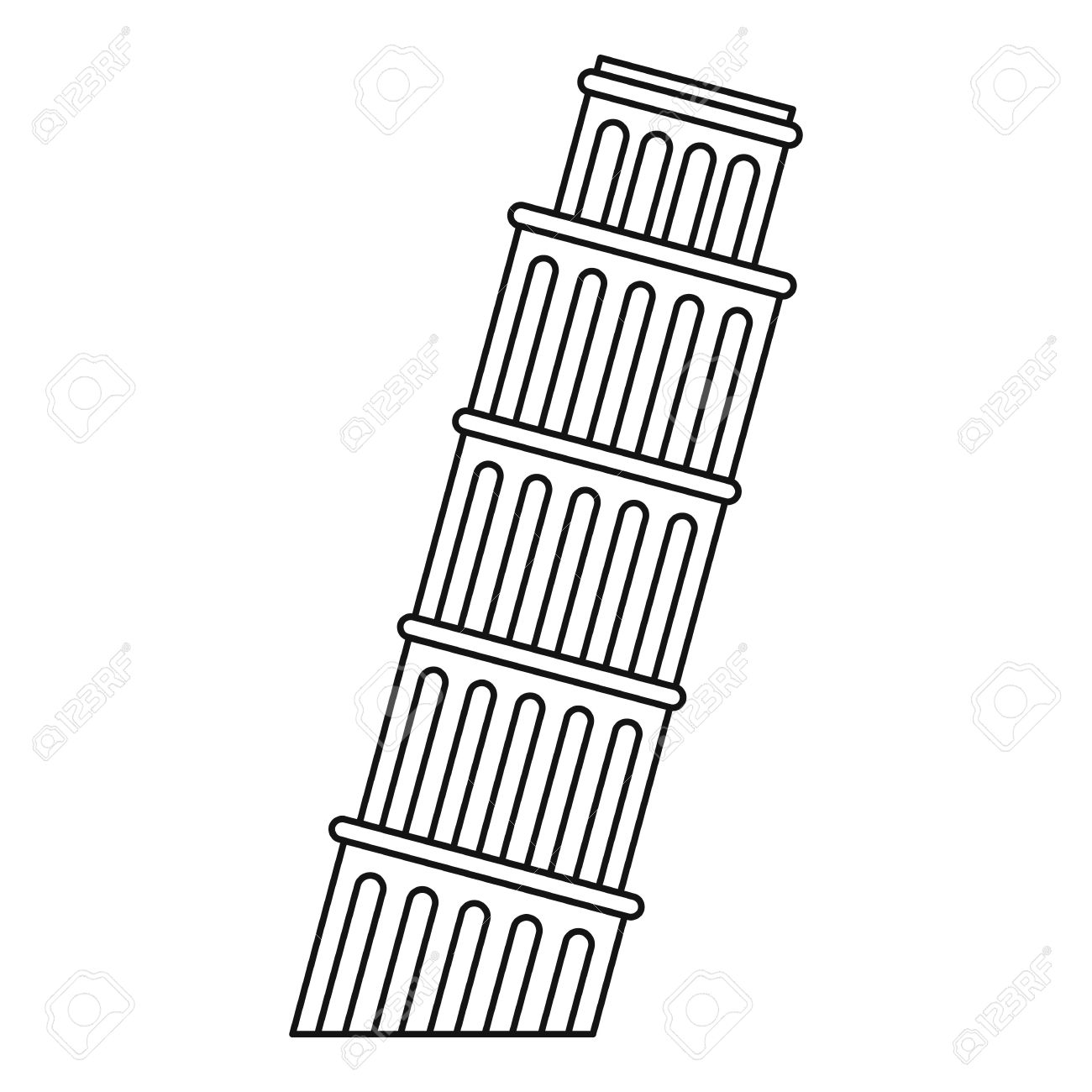 1300x1300 Leaning Tower Of Pisa Icon. Outline Illustration Of Pisa Tower