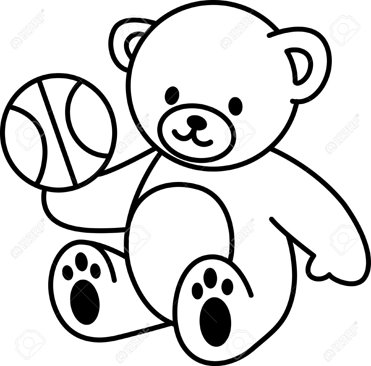 1300x1283 Illustration Of Very Cute Teddy Bear With Basketbal Royalty Free