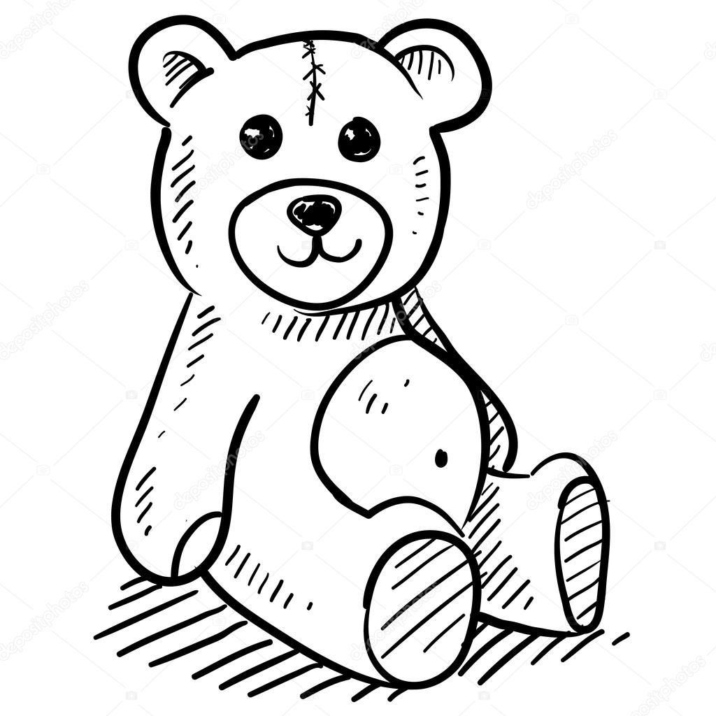 1024x1024 Child's Teddy Bear Plush Toy Sketch Stock Vector Lhfgraphics