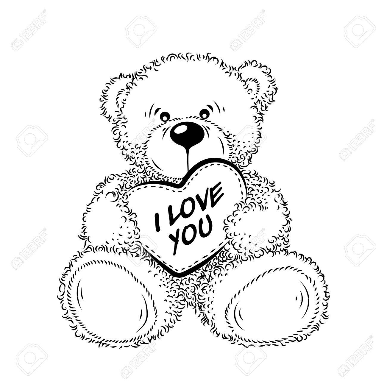 1300x1300 Cute Drawing Teddy Bear With Heart. Vector Illustration Royalty