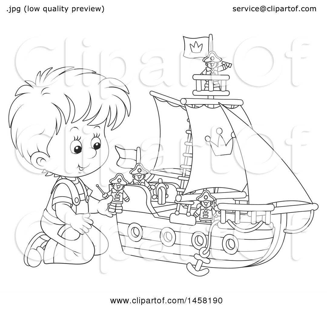 1080x1024 Clipart Of A Black And White Boy Kneeling And Playing With A Toy