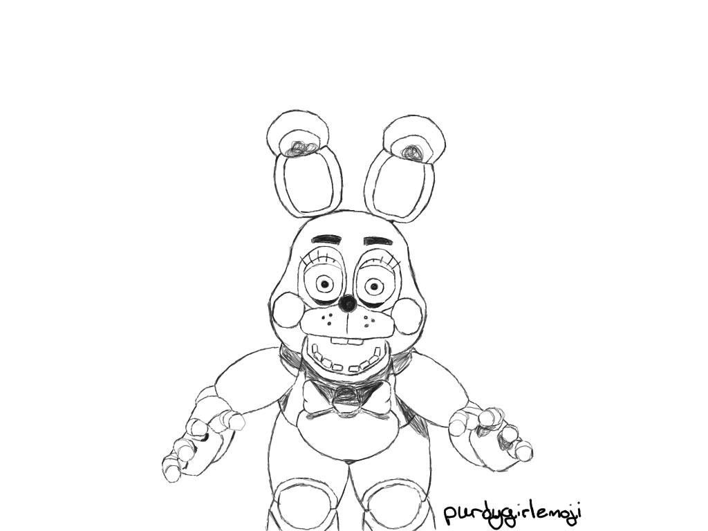 1024x768 Toy Bonnie Sketch By Purdygirlemoji