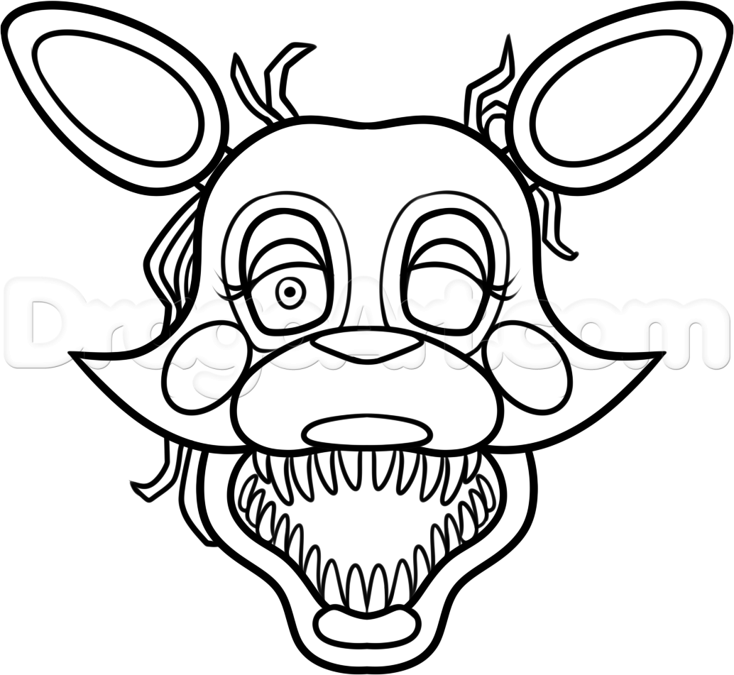 1034x951 How To Draw Mangle From Five Nights
