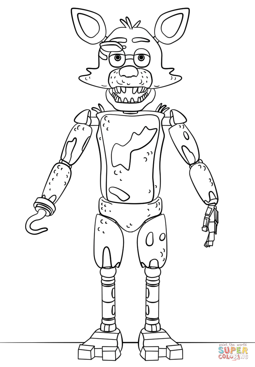 824x1186 Fnaf Toy Foxy Coloring Page Free Printable Coloring Pages