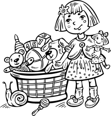 458x480 Girl With A Toy Box Coloring Page Free Printable Coloring Pages