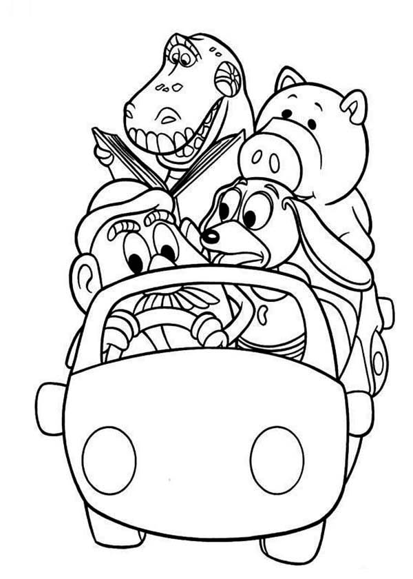 600x840 Woddy's Gang Riding A Car In Toy Story Coloring Page