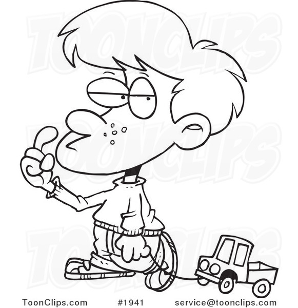 581x600 Cartoon Black And White Line Drawing Of A Boy Pulling A Toy Truck