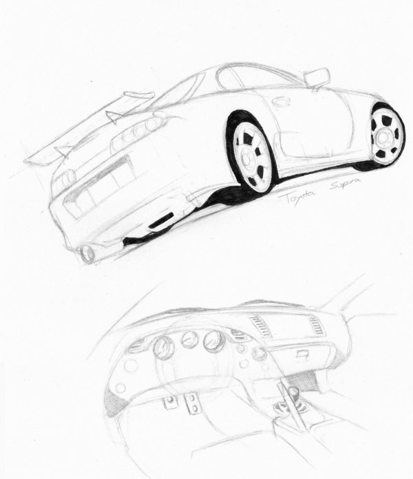 600x696 Toyota Supra Sketch By Darent303