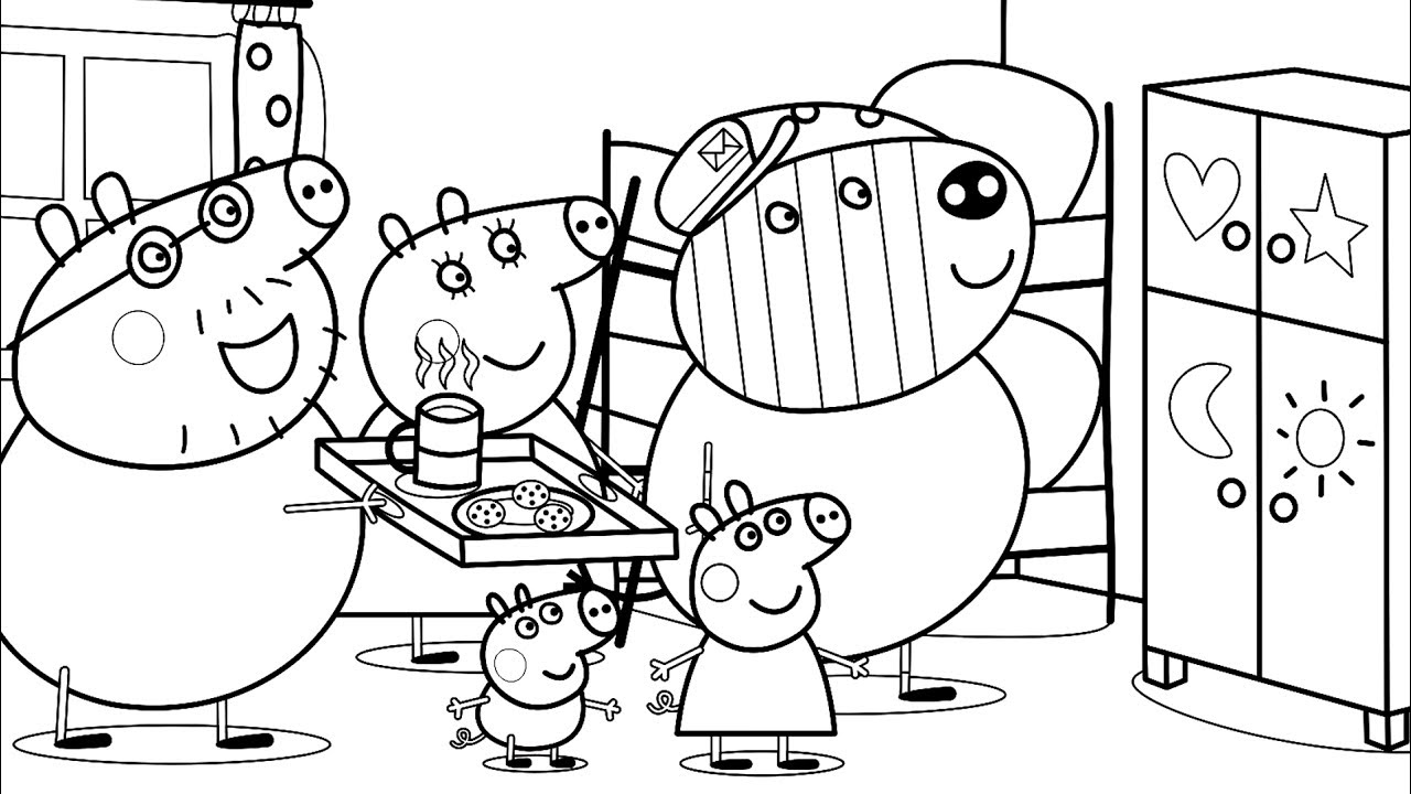 1280x720 Peppa Pig Cupboard For Toys Coloring Pages For Kids With Colored