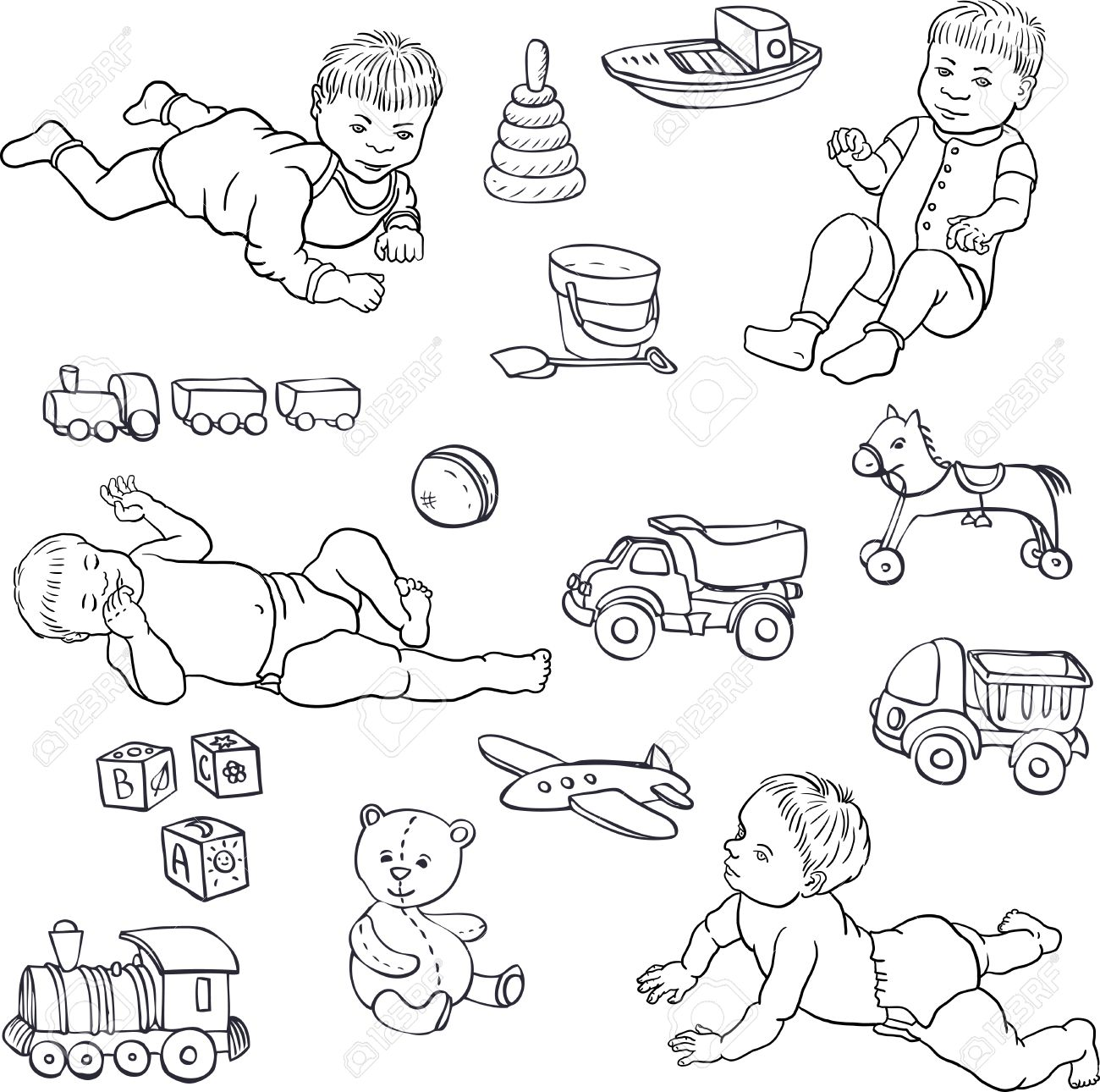 1300x1290 Set Of Line Drawing Babies And Toys, Cars,bear,horce,ball, Cubes