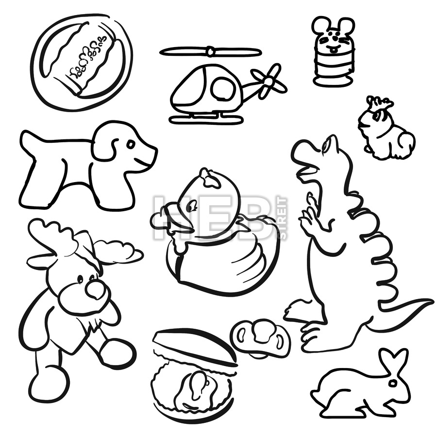 900x900 Baby Toys Outline Sketched Doodles Hebstreits