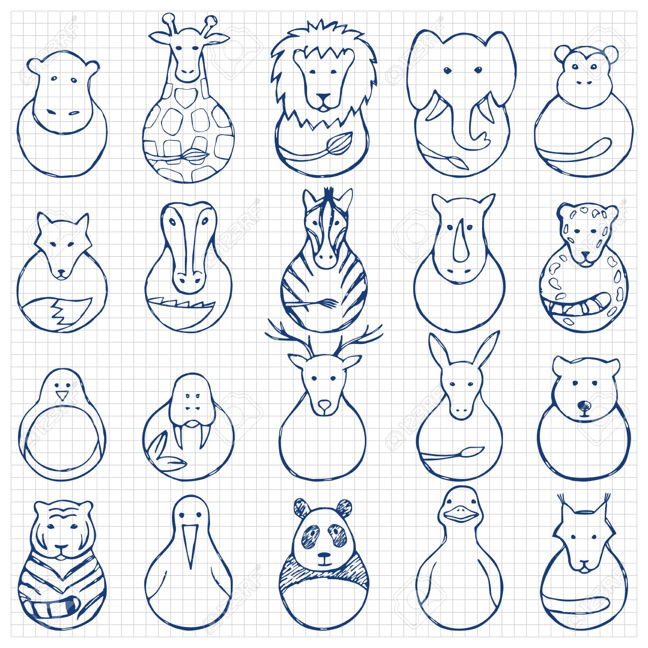1300x1300 Children Drawing Of Animal Toys On Squared Background Royalty Free
