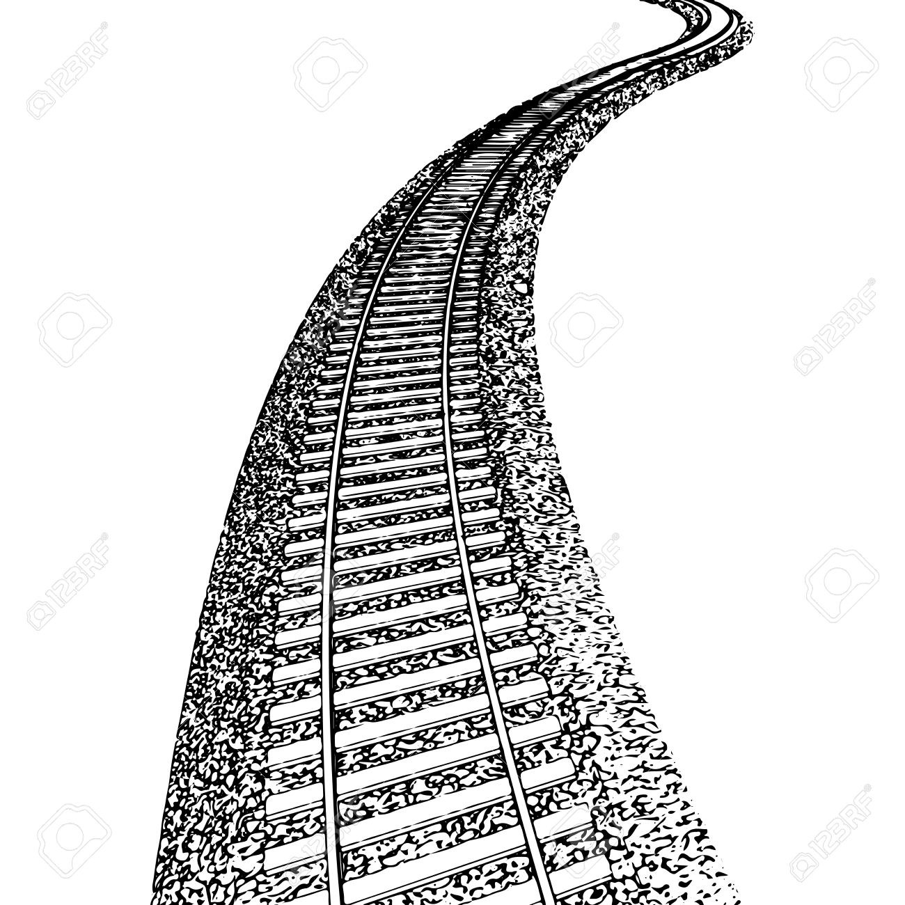 1300x1300 Vector Curved Endless Train Track. Sketch Of Curved Train Track