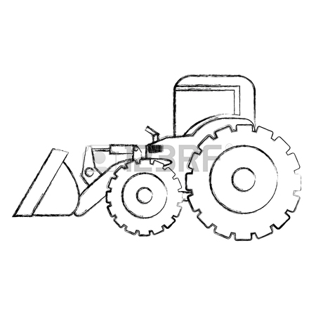 450x450 Monochrome Contour Hand Drawing Of Tractor Loader With Shovel