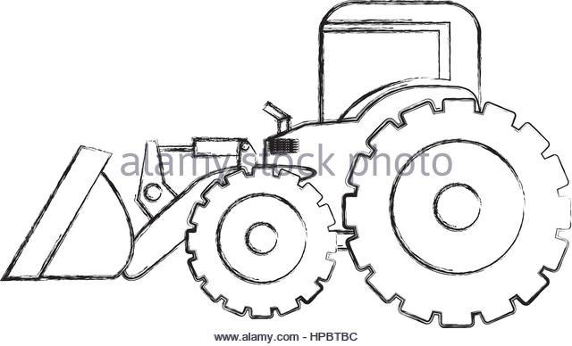 640x388 Monochrome Contour Hand Drawing Tractor Stock Photos Amp Monochrome