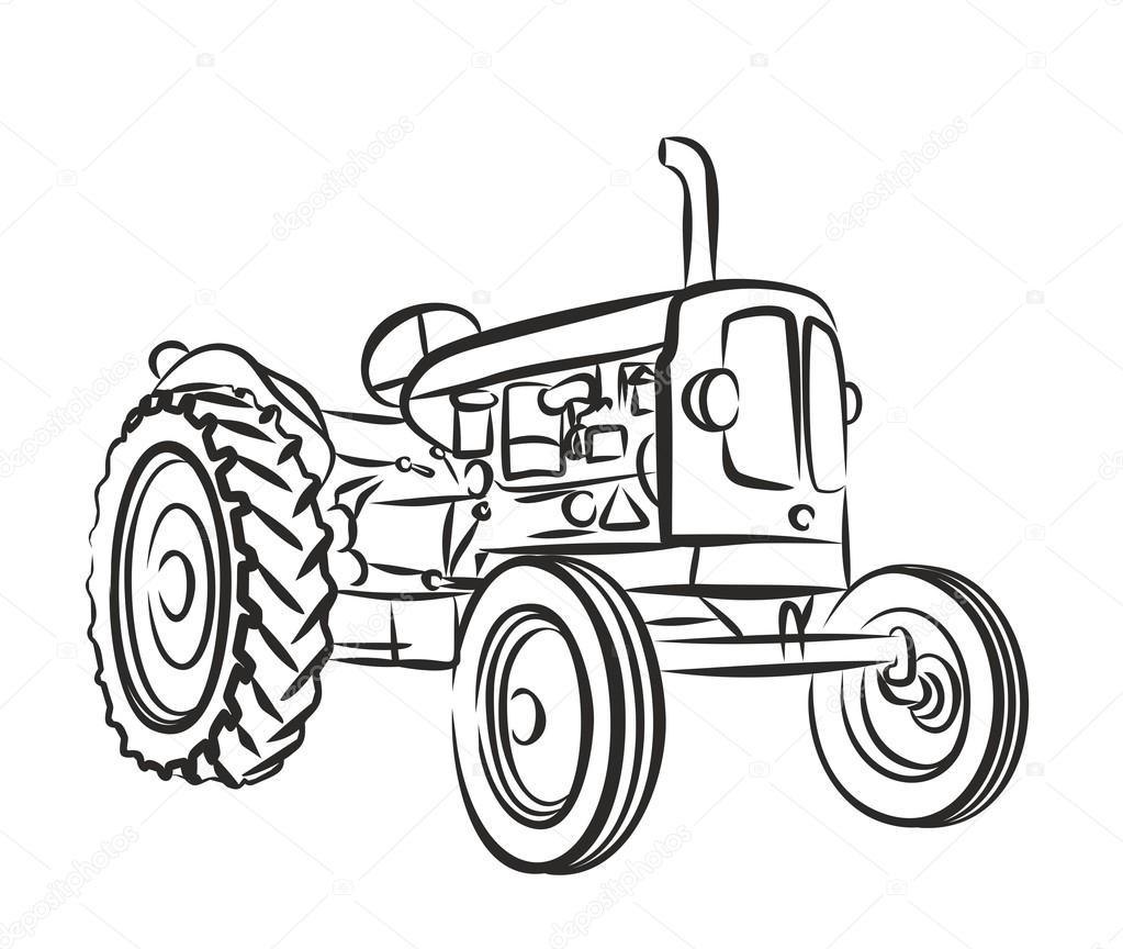 1023x864 Sketch Of Old Tractor. Stock Vector Designer