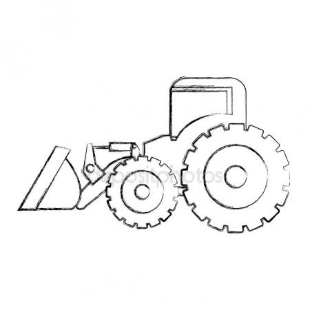 450x450 Monochrome Contour Hand Drawing Of Tractor Loader Building Machine