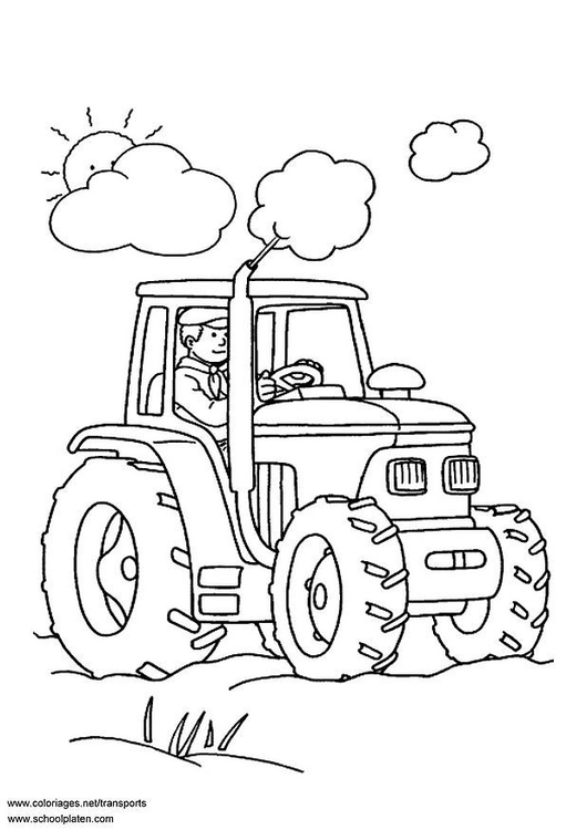 530x750 Coloring Page Tractor