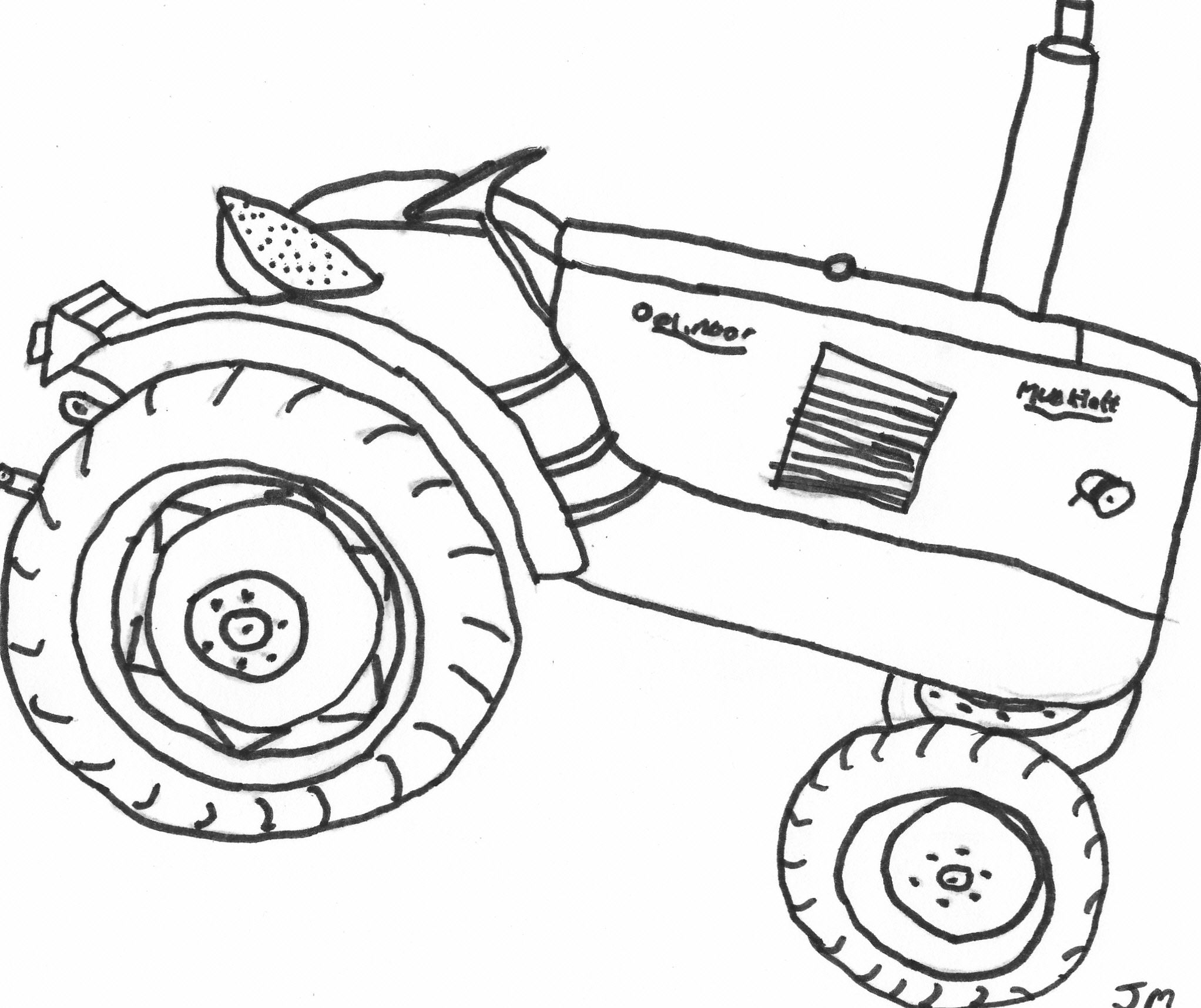 2044x1716 Drawn Tractor Coloring Page