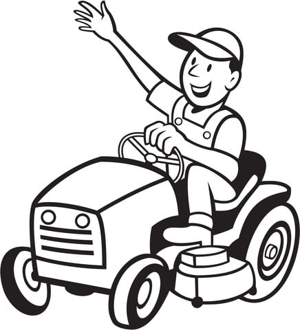 436x480 Farmer Riding A Tractor Mower Coloring Page Free Printable