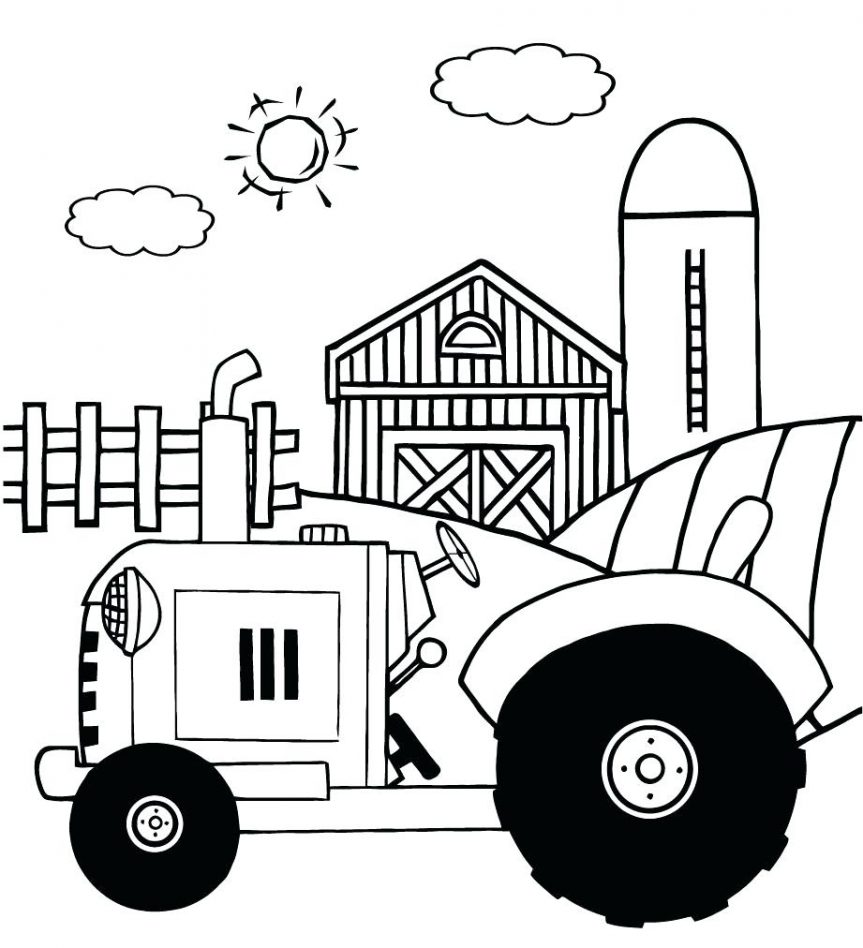 863x948 Simple Tractor Drawing Coloring Pages Kubota Sheets Free Online
