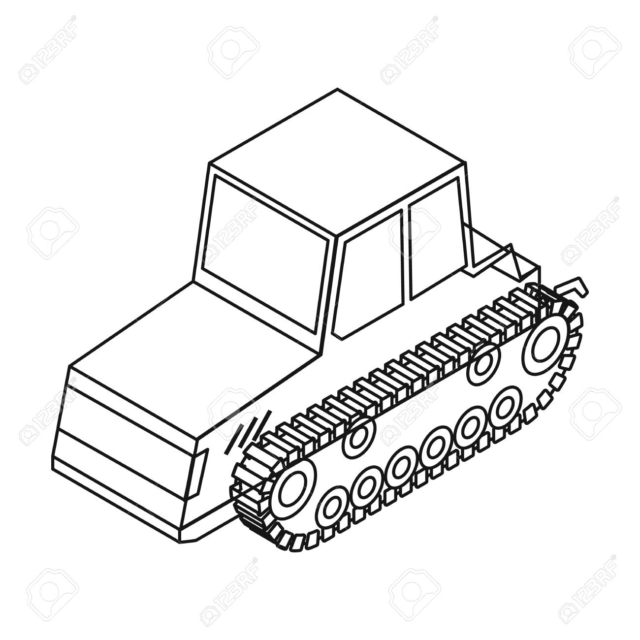 1300x1300 Tracked Tractor Icon In Outline Style Isolated On White Background