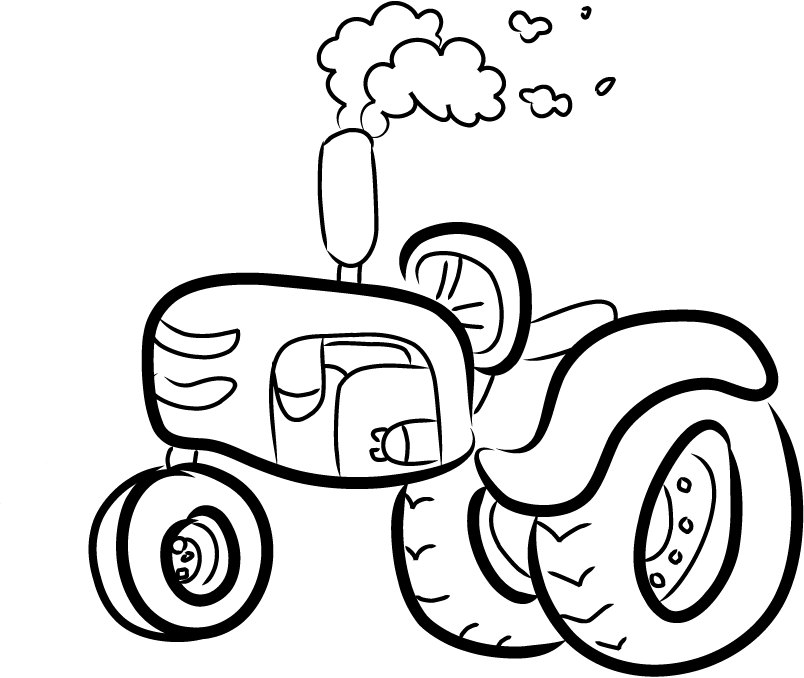 Printable Coloring Pages Of 2 804x678 Tractor Outline 5 X 7 Machine Embroidery Design By