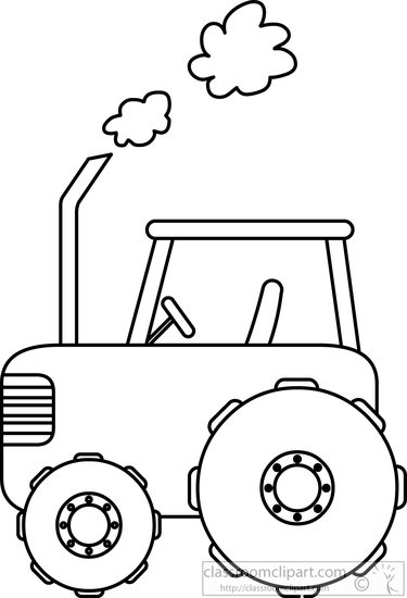 375x550 Transportation Clipart Tractor In Field Black White Outline