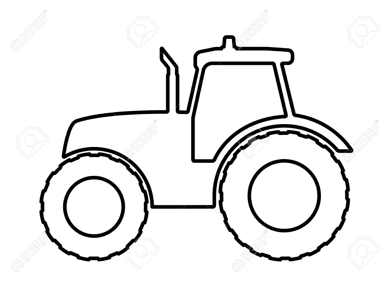 1300x975 Vector Illustration Of A Silhouette Of A Tractor On A White
