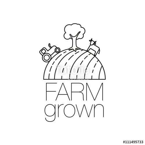 500x500 Farm Grown Outline Icon For Organic Food And Restaurants. Farm