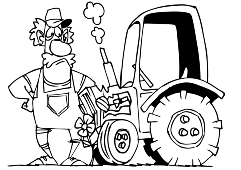 480x339 Cartoon Farmer And His Tractor Coloring Page Free Printable