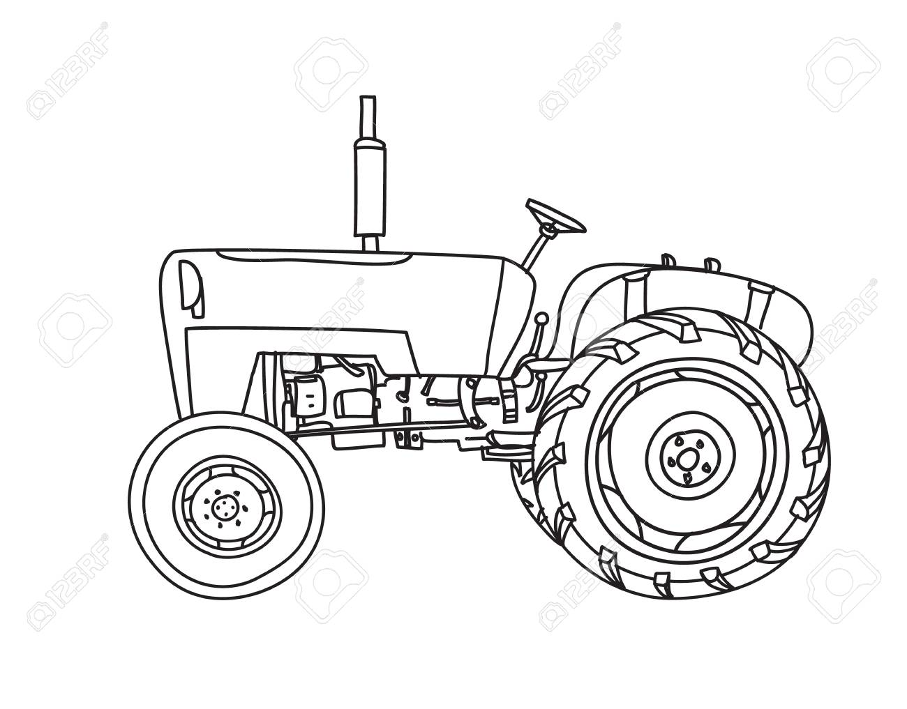 1300x1017 Old Tractor Vintage Hand Drawn Cute Vector Line Art Illustration