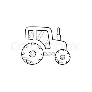 320x320 Tractor Vector Sketch Icon Isolated On Background. Hand Drawn