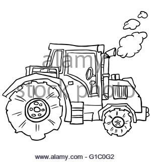 300x320 Farm Tractor Sketch. Hand Drawn Vector Illustration Stock Vector