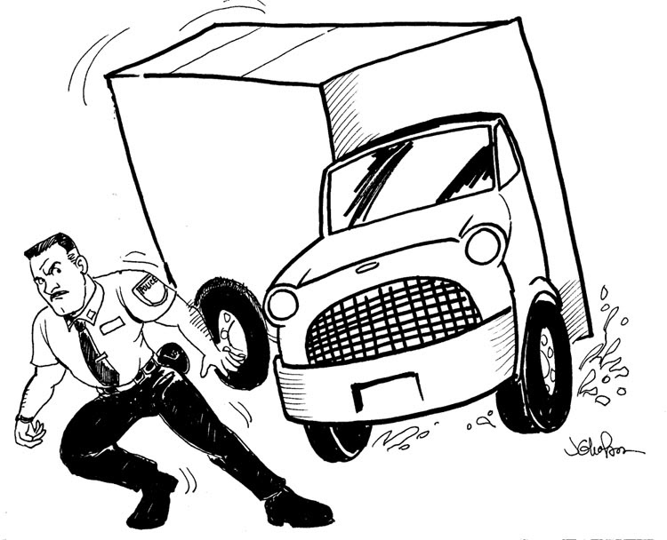 750x608 Taking Requests A Cop Dodging A Big Tractor Trailer