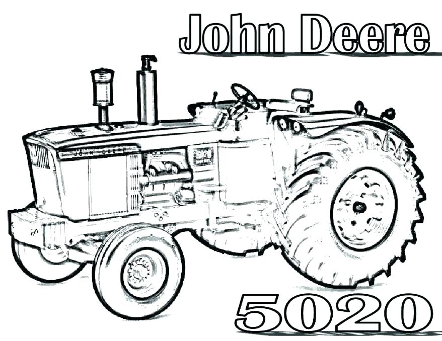 878x678 Tractor Coloring Page