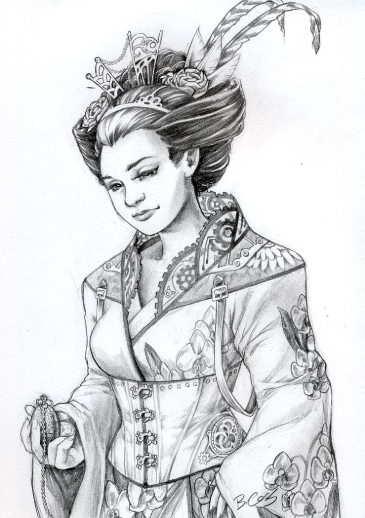 Traditional Geisha Drawing