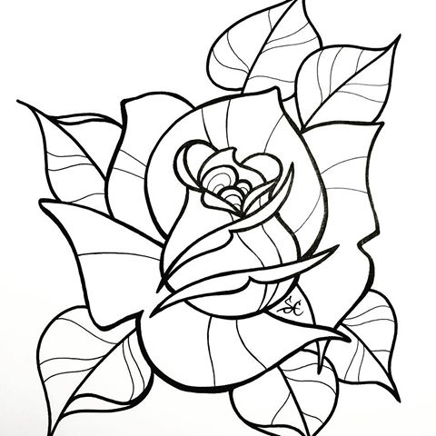 480x480 Gallery Traditional Rose Line Drawing,