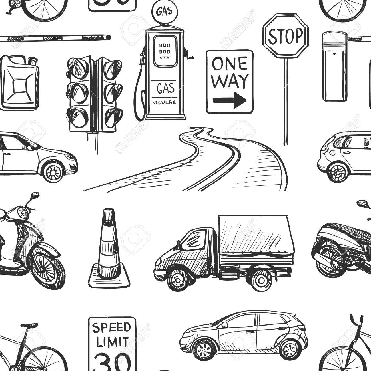 1299x1300 Seamless Pattern Of Traffic Laws Icons Traffic Lights, Signs
