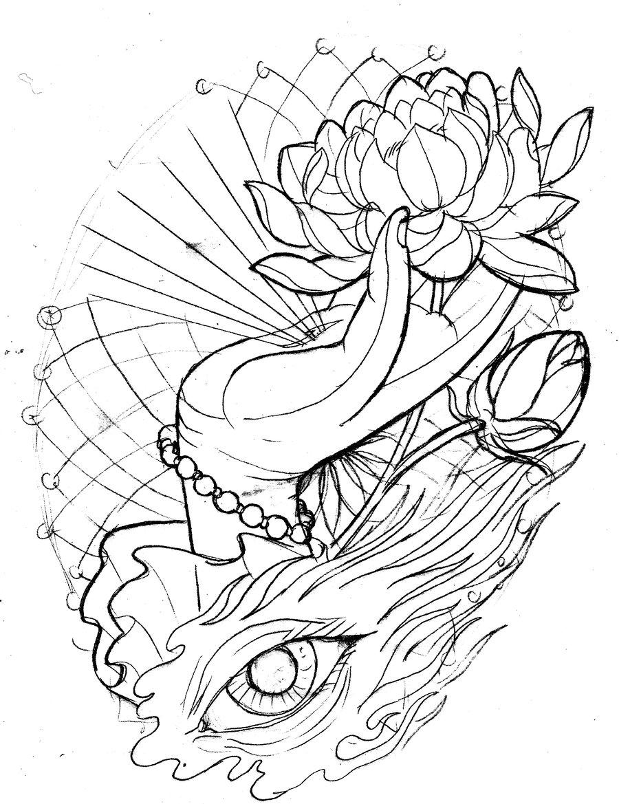 900x1169 Neo Traditional Lotus Hand Eye