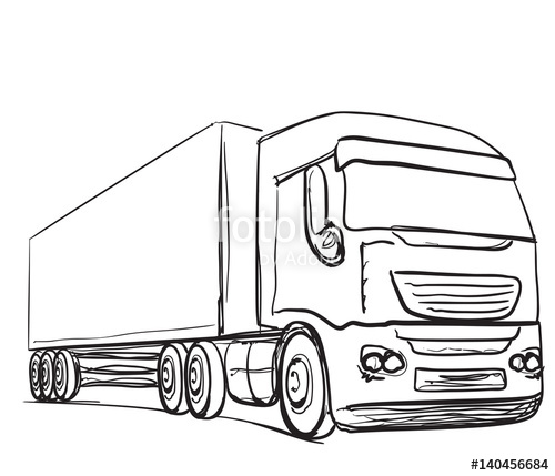 500x429 Delivery Service. Hand Drawn Truck. Transport. Stock Image